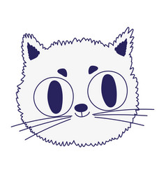 Cute cat feline face big eyes cartoon icon design vector