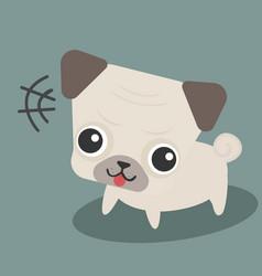 cute happy pug dog cartoon comic flat design vector image