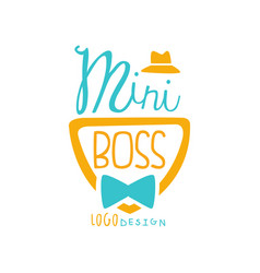 Cute mini boss logo design with lettering hat vector