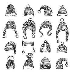 Doodle set of hats isolated on white background vector