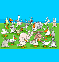Ducks and rabbits farm animal characters group vector