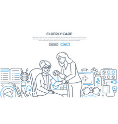 elderly care - modern line design style banner vector image