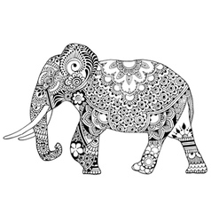 Elephant decorated with ornaments vector
