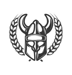 emblem template with wreath and viking helmet vector image