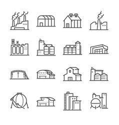 Factory and industrial line icon set vector