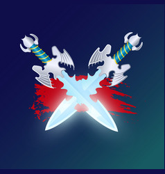 Fantasy battle element with crossed swords vector