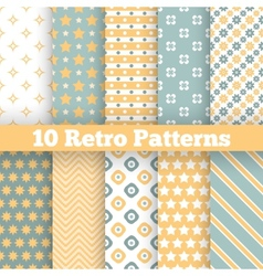 Fashion retro different seamless patterns vector