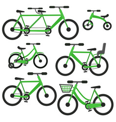 flat cartoon green bicycle set vector image