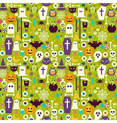 Flat Halloween Holiday Elements Seamless Pattern vector image