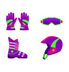 Flat style skiing snowboarding equipment vector
