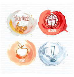 four round watercolor brush strokes with drawings vector image