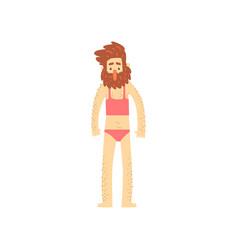 freak bearded man character in womans bathing suit vector image