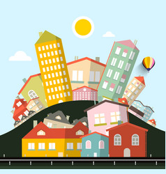 Funky houses abstract landscape vector