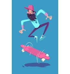 Funny hipster on longboard character Isolated vector