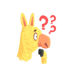 Funny puzzled lama character cute alpaca animal vector