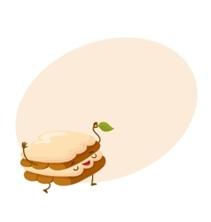 Funny tiramisu dessert character with a mint leaf vector