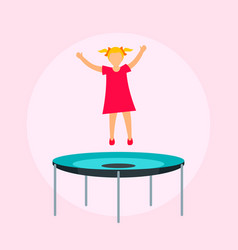 girl on trampoline background flat style vector image