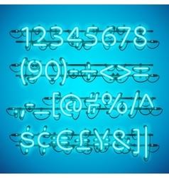 Glowing Neon Azure Blue Numbers vector