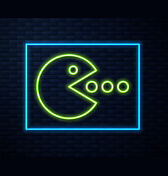Glowing neon line pacman with eat icon isolated vector