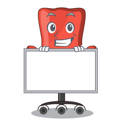 Grinning with board character office desk chair in vector
