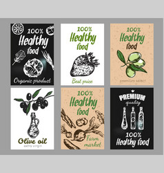 hand drawn food poster set vector image