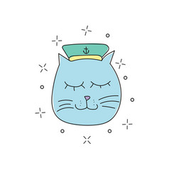 hand drawn funny sailor cat vector image