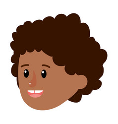 Happy boy head with curly hairstyle vector