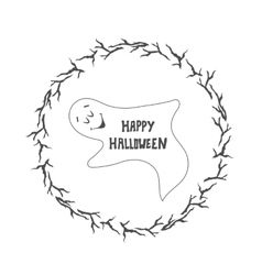 Happy Halloween card Funny ghost vector image