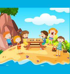 Happy kids having lunch on island vector
