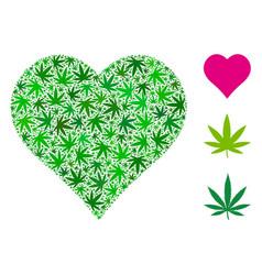 Heart collage of marijuana vector