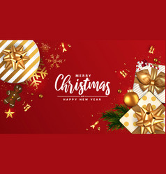 Holiday new year card - merry christmas on red vector