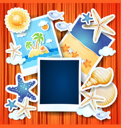 Holidays background with photo frames vector