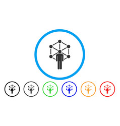 human network rounded icon vector image