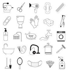 Hygiene And Bathroom Icons Set vector