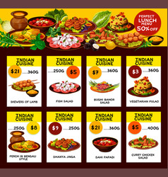 Indian restaurant menu offer cards vector
