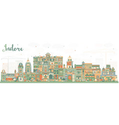 Indore india city skyline with color buildings vector