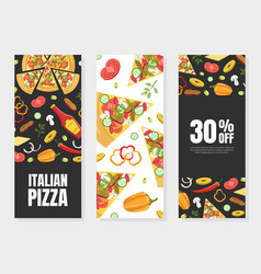 Italian pizza card template set element can be vector