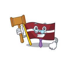Judge cartoon flag latvia in with mascot vector