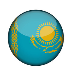 Kazakhstan flag in glossy round button of icon vector