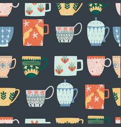 Kitchen seamless pattern ceramic cups flat vector