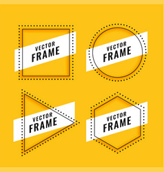 line style frame design on yellow background vector image