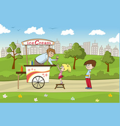 little girl is looking forward to an ice cream vector image