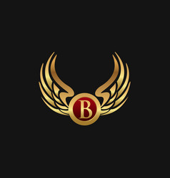 Luxury letter b emblem wings logo design concept vector