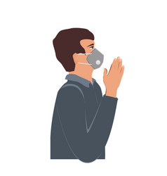 Man wearing a protection mask and praying for vector