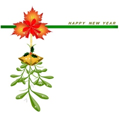 New Year Card with Mistletoe with A Red Bow vector image