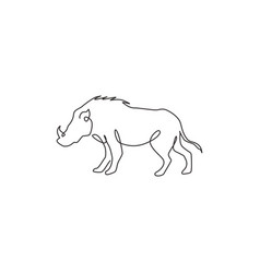 one continuous line drawing savage common vector image