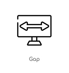 Outline gap icon isolated black simple line vector