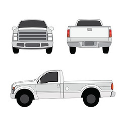 Pick-up truck three sides view vector image