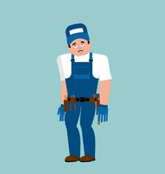 plumber sad fitter sorrowful emoji service worker vector image
