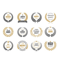 premium round labels sale or victory emblem with vector image